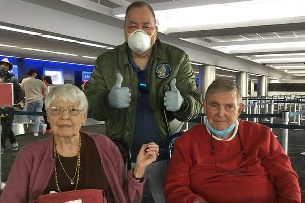 Cruise Critic member @Copper10-8 with Jim, 89, and Cathy, 87, at the LAX airport