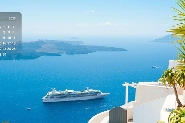 April 2020 calendar, featuring aerial exterior shot of a cruise ship in Greece