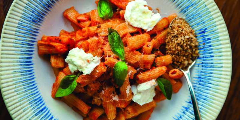 Close-up shot of Penne dish from Jamie's Italian