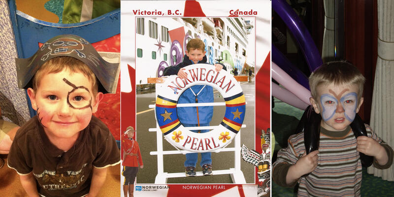 Composite photos of Cecilia Freeman's kids enjoying their first cruise on Norwegian Pearl