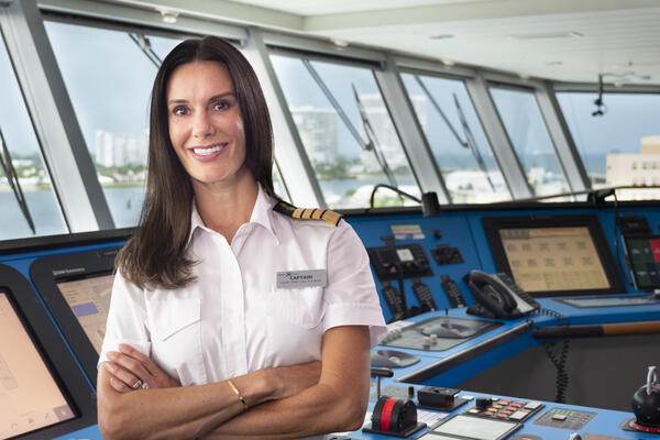 Captain McCue on the bridge of Celebrity Edge (Photo: Celebrity Cruises)