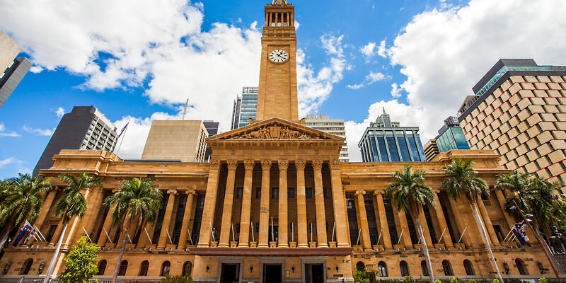 Exterior facade of City Hall in Brisbane on a sunny day