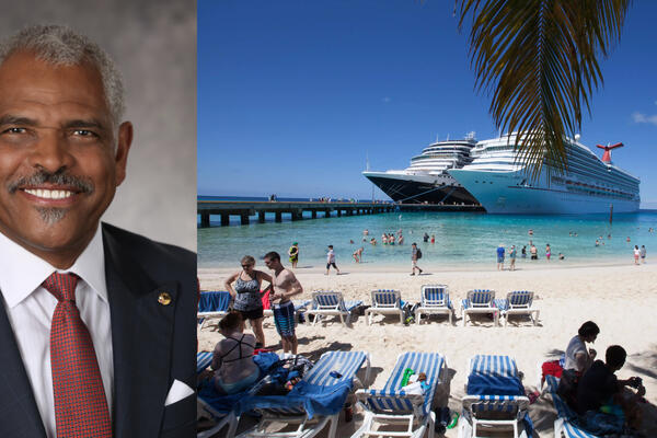 Composite photo of two ships in the Caribbean and Arnold Donald, CEO and President of Carnival Corporation