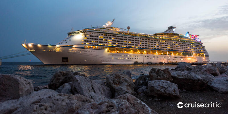 Zoom Background: Adventure of the Seas in port (Photo: Cruise Critic)