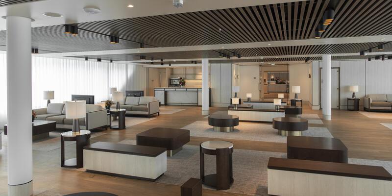 Empty interior Lounge on Silver Origin