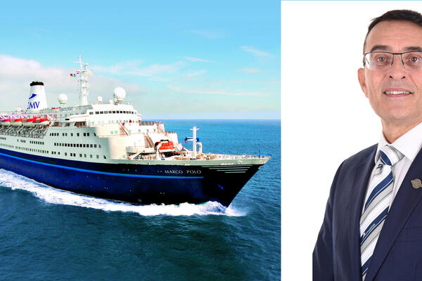 Composite photo of Mike Hall headshot and Marco Polo ship exterior