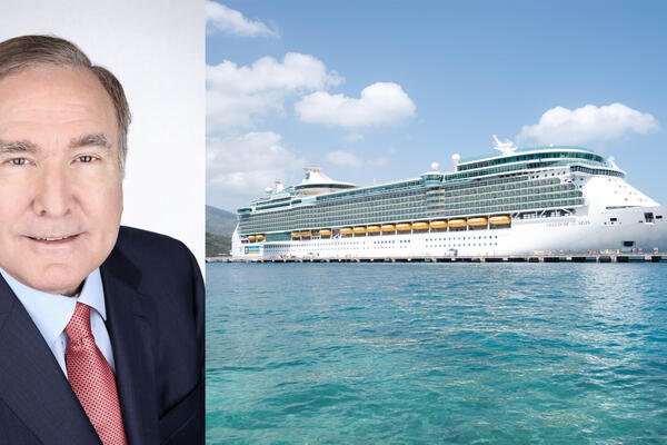 Composite photo of Freedom of the Seas exterior and headshot of Royal Caribbean Cruises Ltd. CEO and Chairman Richard Fain