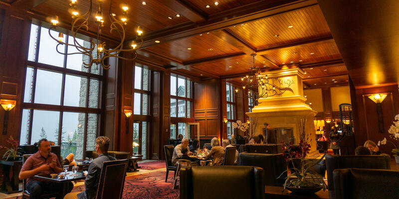 Interior of The Larkspur Lounge at The Rimrock Resort Hotel during Covid reopening