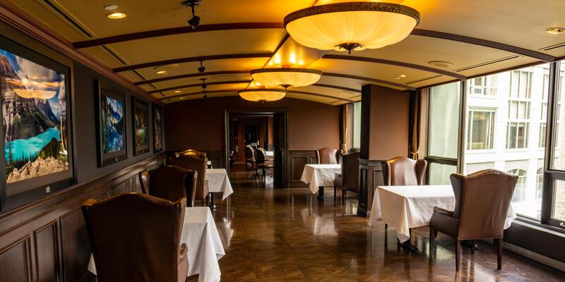 Interior shot of an empty Eden restaurant at The Rimrock Resort Hotel