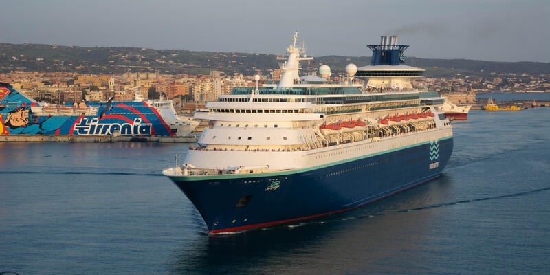 Sovereign departing Civitavecchia, the port for Rome, at sunset