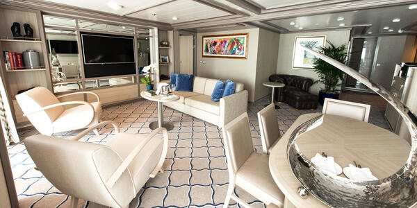 The Owner's Suite's Living Room on Silver Muse (Photo: Cruise Critic)
