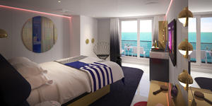 Seriously Suite: one of eight types of RockStar Suites onboard Virgin Voyages' Scarlet Lady (Photo: Virgin Voyages)