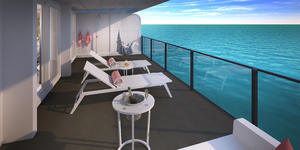 Posh Suite: one of eight types of RockStar Suites onboard Virgin Voyages' Scarlet Lady (Photo: Virgin Voyages)