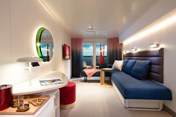 Artist rendering of the cabins onboard Scarlet Lady (Image: Virgin Voyages)