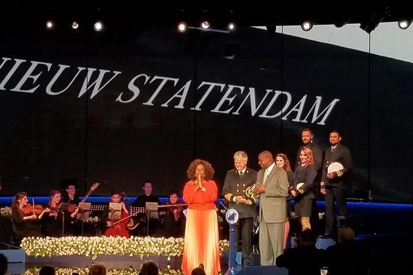 Oprah Winfrey, Orlando Ashford and cruise ship officers at the Nieuw Statendam's christening event (Photo: Colleen McDaniel)