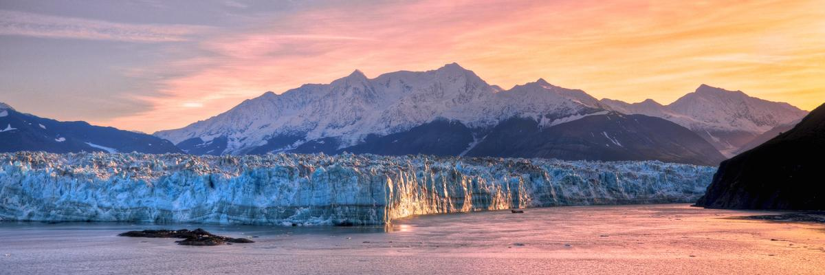 Hubbard Glacier at sunset
