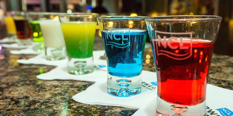 Colorful drinks served on a Norwegian cruise ship