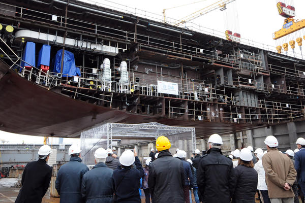Keel laying for a new Holland America cruise ship at the STX shipyard  (Photo: Holland America Line)