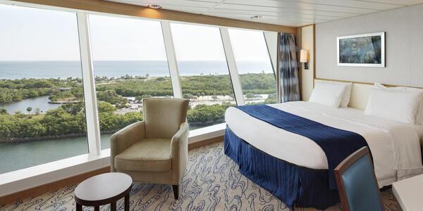 Forward-facing suite on a Royal Caribbean ship