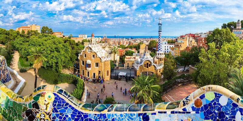 Park Guell by architect Gaudi in a summer day in Barcelona, Spain. (Photo: S-F/Shutterstock)