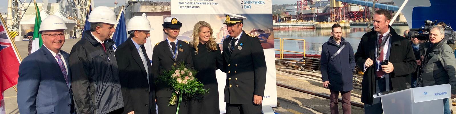 Princess Cruises President Jan Swartz, celebrating major milestones at the Fincantieri shipyard in Monfalcone, Italy (Photo: Chris Gray Faust)