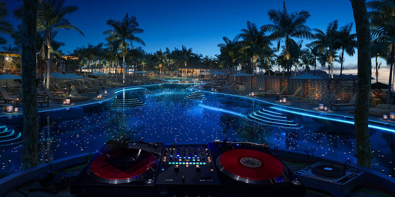 The Beach Club at night (Image: Virgin Voyages)