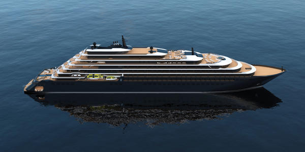 Artist rendering of Ritz-Carlton's Evrima (Image: Ritz-Carlton Yacht Collection)
