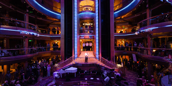 The dimly lit Centrum on Grandeur of the Seas